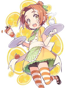 Rating: Safe Score: 0 Tags: 1girl :o ai_nige apron black_footwear blush bow buttons checkered checkered_apron checkered_neckwear cherry chocolate collared_dress dress food foreshortening frilled_apron frilled_dress frilled_gloves frills fruit glass gloves green_apron green_neckwear hair_bow hair_leaf hair_ornament hair_up hairclip holding holding_tray idolmaster idolmaster_cinderella_girls leaf leg_lift lemon lemon_slice looking_at_viewer mary_janes milk necktie open_mouth orange orange_hair orange_legwear raised_eyebrows round_teeth ryuuzaki_kaoru shoes short_eyebrows short_hair short_sleeves smoothie solo spilling striped striped_legwear sweatdrop teeth thick_eyebrows thighhighs tray waist_apron waist_bow waitress walking white_background white_bow white_gloves yellow_bow yellow_dress yellow_eyes User: DMSchmidt