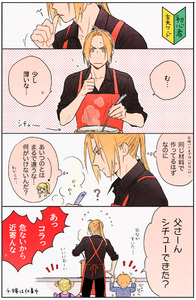 Rating: Safe Score: 0 Tags: +++ /\/\/\ 1girl 2boys 4koma :d :p ? _p age_difference apron bangs black_border black_shirt blonde_hair blue_eyes blue_shirt border brother_and_sister close-up comic directional_arrow edward_elric expressionless face facing_away father_and_daughter father_and_son fingernails frown fullmetal_alchemist grey_background hanayama_(inunekokawaii) hands ladle multiple_boys nervous open_mouth pink_shirt polka_dot polka_dot_background ponytail pot profile shirt siblings simple_background sleeves_rolled_up smile speech_bubble steam sweatdrop thought_bubble tongue tongue_out twin_tails upper_body v-shaped_eyebrows winry_rockbell User: Domestic_Importer