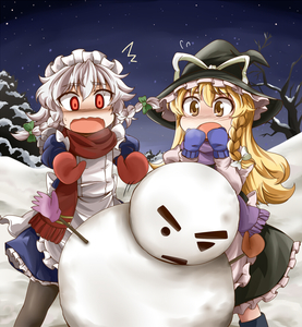 Rating: Safe Score: 0 Tags: /\/\/\ 2girls blonde_hair bow braid cold dress frills hair_bow hat headdress izayoi_sakuya kanosawa kirisame_marisa maid_headdress mittens multiple_girls night open_mouth pantyhose plant red_eyes scarf silver_hair snow snowman star_(sky) stick team_shanghai_alice touhou_project tree twin_braids witch_hat yellow_eyes User: DMSchmidt