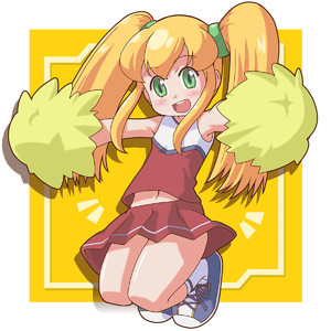 Rating: Safe Score: 1 Tags: 1girl alternate_hairstyle armpits blonde_hair capcom cheerleader flat_chest green_eyes hair_ribbon highres jumping ki_(adotadot) long_hair looking_at_viewer midriff navel open_mouth pom_poms red_skirt ribbon rockman rockman_(classic) roll shoes skirt solo twin_tails User: DMSchmidt