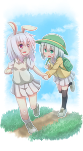 Rating: Safe Score: 0 Tags: 2girls animal_ears arm_up backpack bag black_legwear bunny_ears cardigan clenched_hand full_body green_eyes green_hat hat highres holding_hands leaning_forward leg_up looking_back miniskirt multiple_girls open_mouth original outdoors pink_eyes pink_hair pleated_skirt running shirt shoes short_hair short_sleeves silver_hair skirt smile socks standing standing_on_one_leg sweater_vest thighhighs white_footwear white_shirt white_skirt white_sweater_vest yellow_cardigan User: DMSchmidt