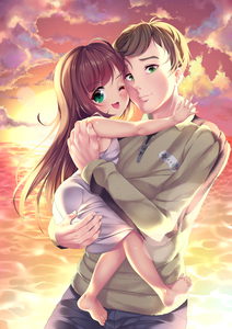 Rating: Safe Score: 6 Tags: 1boy 1girl ;d age_difference bare_arms bare_shoulders barefoot blush brown_hair closed_mouth cloud cloudy_sky controller dress eyebrows_visible_through_hair feet game_controller gorudazo held_up one_eye_closed open_mouth original smile User: Domestic_Importer