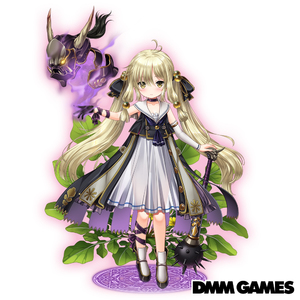 Rating: Safe Score: 1 Tags: 1girl blonde_hair braid club copyright_name costume_request dmm floral_background flower_knight_girl full_body glowing glowing_eyes hair_bobbles hair_ornament horns koonitabirako_(flower_knight_girl) looking_at_viewer skull smoke spiked_club standing tagme weapon white_background yellow_eyes User: DMSchmidt