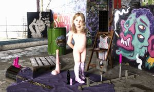 Rating: Questionable Score: 32 Tags: 1girl 3dcg artist_name bdsm blonde_hair dildo double_dildo flat_chest graffiti highres knee_socks looking_at_viewer navel nipples nude original photorealistic pussy sex_toy slimdog smile standing uncensored User: lalilu1234
