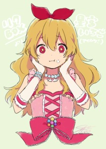 Rating: Safe Score: 0 Tags: +_+ 1girl aikatsu! aikatsu!_(series) bare_shoulders blonde_hair blush bow bracelet character_name copyright_name cream cream_on_face dated elbow_gloves eyebrows_visible_through_hair food food_on_face frills gloves green_background hair_between_eyes hair_bow hairband hands_on_own_face hoshimiya_ichigo idol jewellery long_hair necklace pearl_bracelet pearl_necklace red_eyes signature simple_background sleeveless solo tkg_(4_nm) upper_body User: DMSchmidt