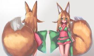 Rating: Safe Score: 1 Tags: 1girl akatsuki_urara animal_ear_fluff animal_ears arms_at_sides bare_legs blonde_hair detached_sleeves fox_ears fox_tail fukutchi hair_between_eyes highres japanese_clothes kimono long_hair looking_at_viewer modeling obi original sash short_kimono short_yukata standing tail thigh_gap yukata User: DMSchmidt