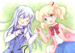Rating: Safe Score: 0 Tags: 2girls alice_cartelet blonde_hair blue_eyes blue_hair cardigan closed_eyes crossover gochuumon_wa_usagi_desu_ka? grass hair_ornament hairclip holding_hands kafuu_chino kin-iro_mosaic long_hair lying multiple_girls on_back open_mouth oumi_neneha outdoors rabbit_house_uniform school_uniform shirt skirt smile twin_tails upper_body vest User: DMSchmidt
