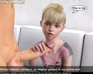 Rating: Explicit Score: 23 Tags: 1boy 1girl 3dcg age_difference bangs barefoot blonde_hair blue_eyes blunt_bangs choker english father_and_daughter flat_chest kneeling nail_polish navel nipples nude open_mouth penis penis_awe photorealistic pussy sitting teeth testicles vfxgold User: fantasy-lover