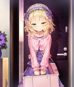 Rating: Safe Score: 2 Tags: 1girl bag bangs blonde_hair blush bow closed_mouth collarbone door eyebrows_visible_through_hair floral_print flower frilled_hairband frilled_sleeves frills green_eyes hair_bow hairband handbag idolmaster idolmaster_cinderella_girls indoors jewellery lolita_hairband long_sleeves looking_at_viewer matanonki necklace plant potted_plant purple_bow purple_flower purple_skirt sakurai_momoka short_hair skirt smile solo standing suitcase white_hairband User: DMSchmidt