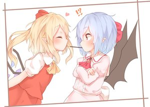 Rating: Safe Score: 1 Tags: !? 2girls ascot bat_wings black_wings blonde_hair blue_hair brooch closed_eyes crossed_arms crystal flandre_scarlet food from_side heart jewellery long_sleeves multiple_girls pink_shirt pocky pocky_kiss pointy_ears puffy_sleeves red_eyes red_neckwear red_skirt red_vest remilia_scarlet sakurea shirt siblings sisters skirt skirt_set touhou_project upper_body vest white_shirt wings yellow_neckwear User: DMSchmidt