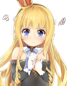 Rating: Safe Score: 0 Tags: 1girl azur_lane bangs bare_shoulders black_dress black_hairband blonde_hair blue_bow blue_eyes blush bow breasts closed_mouth crown detached_sleeves dress eyebrows_visible_through_hair gloves hair_bow hairband long_hair long_sleeves looking_at_viewer maru_shion mini_crown queen_elizabeth_(azur_lane) ringlets simple_background small_breasts solo squiggle strapless strapless_dress striped_hairband tears very_long_hair white_background white_bow white_gloves User: DMSchmidt