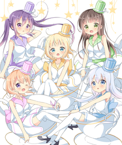 Rating: Safe Score: 0 Tags: 5girls :d :o ;d aqua_eyes arm_behind_head bangs bare_shoulders black_footwear blonde_hair blue_eyes blue_hat blunt_bangs blush breasts brown_hair cup dress everyone eyebrows_visible_through_hair gochuumon_wa_usagi_desu_ka? green_eyes green_hat hat hat_ribbon high_heels highres hoto_cocoa in_container in_cup kafuu_chino kirima_sharo light_blue_hair long_hair looking_at_viewer matching_outfit medium_breasts mini_hat mini_top_hat multiple_girls one_eye_closed open_mouth orange_hair oversized_object pink_hat purple_eyes purple_hair purple_hat ribbon sash saucer short_hair sleeveless sleeveless_dress small_breasts smile star striped_hat sui-95 tedeza_rize thighhighs top_hat twin_tails ujimatsu_chiya vest white_background white_dress white_legwear white_ribbon white_vest yellow_hat zettai_ryouiki User: DMSchmidt