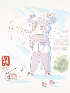 Rating: Safe Score: 0 Tags: 1girl bird blue_ribbon crescent crescent_hair_ornament gensoukoumuten hair_ornament hair_ribbon long_hair patchouli_knowledge purple_hair radio radio_exercises red_eyes red_ribbon ribbon sparrow striped touhou_project track_suit translation_request User: DMSchmidt