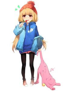 Rating: Safe Score: 1 Tags: 1girl :d beanie black_legwear blonde_hair blue_hoodie blue_jacket blush brown_eyes candy drooling food futaba_anzu hat highres holding holding_lollipop holding_stuffed_animal hood hood_down hoodie idolmaster idolmaster_cinderella_girls jacket lollipop long_hair low_twintails open_clothes open_jacket open_mouth pantyhose pigeon-toed red_footwear red_hat red_skirt saliva shoes signature simple_background skirt smile sneakers solo standing stuffed_animal stuffed_bunny stuffed_toy twin_tails very_long_hair white_background xiaoyu User: Domestic_Importer