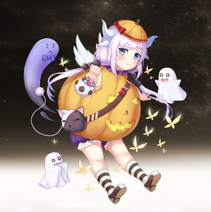 Rating: Safe Score: 0 Tags: 0_0 1girl :3 absurdres bag blue_eyes bow bowtie butterfly candy d: dragon_girl dragon_horns dragon_tail eyebrows_visible_through_hair food ghost hair_bobbles hair_ornament halloween handbag hat highres horns jack-o'-lantern kanna_kamui kobayashi-san_chi_no_maidragon lavender_hair lollipop long_hair looking_at_viewer low_twintails muji_(majunduo) o_o open_mouth pumpkin_costume solo striped striped_legwear tail trick_or_treat twin_tails wavy_mouth wings User: Domestic_Importer