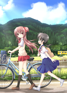 Rating: Safe Score: 1 Tags: 2girls backpack bag bicycle bicycle_basket bicycle_seat black_hair black_hairclip black_legwear blue_skirt blue_sky bow bowtie brown_footwear brown_hair building bush collared_shirt grass ground_vehicle hair_ornament hairclip long_hair looking_at_another low_twintails multiple_girls nanase_miori one_side_up open_mouth original outdoors pleated_skirt randoseru red_bow red_neckwear red_ribbon red_scrunchie red_skirt ribbon road school_uniform serafuku shirt shoes short_hair short_sleeves skirt sky smile sweater_vest tree twin_tails walking wheel white_footwear white_legwear white_shirt User: DMSchmidt