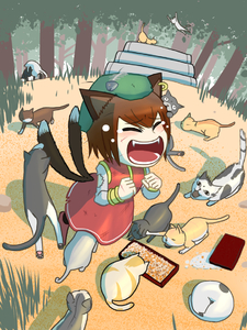 Rating: Safe Score: 1 Tags: 1girl animal_ears biting brown_hair cat cat_ears cat_tail cheek_press chen closed_eyes dirty_clothes doggystyle dress ear_piercing eating fang fighting fish_bone forest hat head_biting head_under_skirt hiss jewellery mob_cap multiple_tails nature nekomata object_on_head okahi open_mouth piercing red_dress scratches shirt single_earring sleeping tail tail_biting too_many_cats top-down_bottom-up torn_clothes torn_sleeves touhou_project User: DMSchmidt