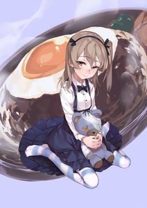 Rating: Safe Score: 0 Tags: 1girl bandages black_bow black_hairband black_neckwear black_skirt blush bow bowtie brown_eyes brown_hair closed_mouth collared_shirt eyebrows_visible_through_hair fried_egg frying_pan full_body geregere_(lantern) girls_und_panzer hair_bow hairband highres long_hair long_skirt long_sleeves looking_at_viewer no_shoes one_side_up pantyhose purple_background shimada_arisu shirt sitting skirt smile solo steam striped striped_legwear wariza white_shirt wing_collar User: DMSchmidt