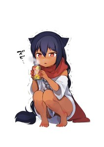 Rating: Safe Score: 3 Tags: 1girl absurdres barefoot black_hair braid brown_skin can cold fang full_body highres jahy jahy_sama_wa_kujikenai konbu_wakame long_hair naked_shirt off_shoulder oversized_clothes parted_lips red_eyes scarf shirt short_sleeves simple_background single_braid solo squatting steam t-shirt trembling white_background white_shirt User: DMSchmidt