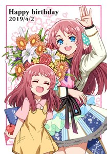 Rating: Safe Score: 2 Tags: 2girls ahoge apple blue_eyes bouquet bow closed_eyes dated dress flower food fruit hand_up happy_birthday heart idol lily_(flower) minamoto_sakura multiple_girls polka_dot polka_dot_bow r red_hair rhubarb side_ponytail zombie_land_saga User: Domestic_Importer