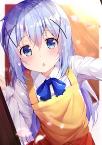 Rating: Safe Score: 0 Tags: 1girl apron bangs blue_eyes blue_hair blue_neckwear blurry blurry_background blush bow bowtie chestnut_mouth collared_shirt depth_of_field dress_shirt dutch_angle eyebrows_visible_through_hair gochuumon_wa_usagi_desu_ka? hair_between_eyes hair_ornament head_tilt highres kafuu_chino long_hair long_sleeves looking_at_viewer parted_lips petals rouka shirt solo very_long_hair white_shirt wooden_floor x_hair_ornament yellow_apron User: DMSchmidt