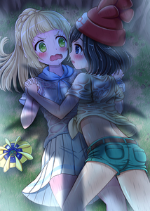 Rating: Safe Score: 1 Tags: 2girls absurdres bangs beanie black_hair blonde_hair blue_eyes bluebird_(bluebird90) blunt_bangs blush bra cosmoem eye_contact green_eyes green_shorts hat highres holding_hands lillie_(pokemon) long_hair looking_at_another mizuki_(pokemon) multiple_girls open_mouth pokemon pokemon_(creature) pokemon_(game) pokemon_sm ponytail rain red_hat see-through shirt shirt_lift short_hair short_shorts shorts skirt t-shirt tied_shirt underwear wavy_mouth wet wet_clothes white_bra white_skirt yuri z-ring User: DMSchmidt