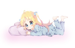 Rating: Safe Score: 0 Tags: 1girl barefoot blonde_hair blue_eyes blue_pajamas blue_pants blue_shirt charlotte_izoard legs_up long_hair lying mearian on_stomach pajamas pants pillow ribbon ryuuou_no_oshigoto! shirt simple_background sleepwear smile solo two_side_up white_background User: Domestic_Importer