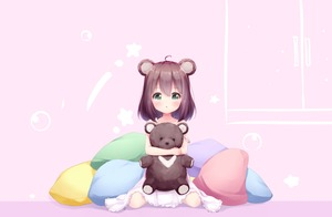 Rating: Safe Score: 2 Tags: 1girl animal_ears bear_ears blush brown_hair dress green_eyes highres hug object_hug original pillow short_hair solo strap_slip stuffed_animal stuffed_toy teddy_bear tokenbox white_dress User: Domestic_Importer