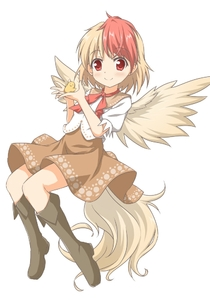 Rating: Safe Score: 1 Tags: 1girl bangs black_footwear blonde_hair blush boots brown_skirt brown_wings closed_mouth eyebrows_visible_through_hair feathered_wings full_body knee_boots multicoloured_hair niwatari_kutaka puffy_short_sleeves puffy_sleeves red_eyes red_hair shino_megumi shirt short_sleeves simple_background skirt smile solo touhou_project two-tone_hair white_background white_shirt wings User: DMSchmidt