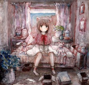 Rating: Safe Score: 0 Tags: 1girl acrylic_paint_(medium) animal_ears bag bed between_legs blush bow box capelet cat_ears coffee_table coloured_pencil_(medium) cup curtains dress flower flower_pot graphite_(medium) grey_hair hand_between_legs highres indoors jar long_hair natsume_no_kijiro original picture_(object) sitting socks solo stuffed_animal stuffed_toy table teddy_bear toy traditional_media white_dress window User: DMSchmidt