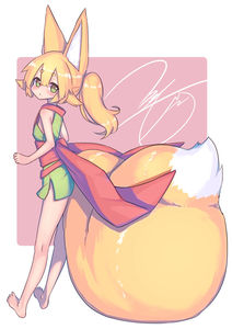 Rating: Safe Score: 0 Tags: 1girl absurdres akatsuki_urara animal_ear_fluff animal_ears bangs barefoot blonde_hair blunt_bangs blush eyebrows_visible_through_hair fox_ears fox_girl fox_tail fukutchi green_eyes hair_between_eyes highres japanese_clothes kimono leaning_back looking_back original ponytail simple_background solo standing tail thick_eyebrows User: DMSchmidt