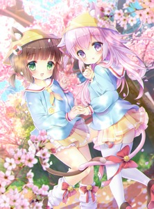 Rating: Safe Score: 2 Tags: 2girls :d animal_ears azur_lane bangs bell blue_shirt blurry blurry_background blurry_foreground blush bow brown_footwear brown_hair cat_ears cat_girl cat_tail cherry_blossoms chromatic_aberration day depth_of_field dutch_angle ears_through_headwear eyebrows_visible_through_hair fang flower green_eyes hair_between_eyes hair_ribbon hand_up hat heels highres holding_hands interlocked_fingers jingle_bell kindergarten_uniform kisaragi_(azur_lane) lifebuoy loafers long_hair long_sleeves looking_at_viewer looking_to_the_side loose_socks multiple_girls mutsuki_(azur_lane) neckerchief open_mouth outdoors parted_lips petals pink_flower pink_hair pleated_skirt purple_eyes red_bow red_ribbon ribbon sailor_collar school_hat school_uniform shirt shoes skirt smile socks sunlight tail tail_bell tail_bow thighhighs very_long_hair white_legwear white_sailor_collar yellow_hat yellow_neckwear yellow_skirt yuyuko_(yuyucocco) User: DMSchmidt
