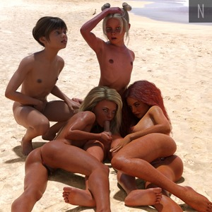 Rating: Explicit Score: 12 Tags: 1boy 3dcg 4girls age_difference anus ass beach blonde_hair blue_eyes brown_hair caressing_testicles fellatio flat_chest freckles kneeling long_hair looking_at_viewer lying multiple_girls neesnusus nude ocean oral penis photorealistic pose sand squatting testicles User: fantasy-lover