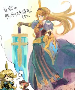 Rating: Safe Score: 0 Tags: >:> 1girl >:> armour armoured_dress blonde_hair blue_dress blue_eyes breastplate charlotta_fenia closed_eyes crown dragon dress granblue_fantasy hand_on_hilt huge_weapon imagining long_hair nirco pointy_ears puffy_short_sleeves puffy_sleeves shield short_sleeves smile sword vee_(granblue_fantasy) weapon User: DMSchmidt
