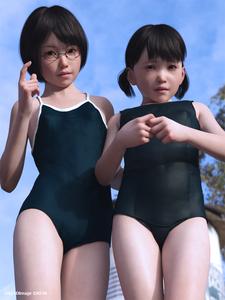 Rating: Safe Score: 4 Tags: 2girls 3dcg artist_name black_hair glasses kein looking_at_viewer looking_down multiple_girls outdoors photorealistic school_swimsuit swimsuit watermark User: Tawaret