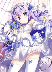Rating: Safe Score: 1 Tags: 10s 1girl :o alternate_costume azur_lane bare_shoulders blue_bow blue_rose blush bow bow_panties breasts bridal_veil choker cowboy_shot cross detached_sleeves dot_nose dress dress_lift eyebrows eyebrows_visible_through_hair eyes_visible_through_hair facing_away flower fujima_takuya hair_bun hair_flower hair_ornament hair_ribbon head_tilt heart_choker jewellery lace lace-trimmed_dress lace_trim legs_apart lifted_by_self long_hair long_sleeves looking_at_viewer midriff open_mouth pantsu petals purple_bow purple_eyes purple_hair ribbon ring rose see-through side_bun sleeves_past_wrists small_breasts solo sparkle standing strapless strapless_dress tareme thighhighs tiara twitter_username underwear unicorn unicorn_(azur_lane) veil wedding_band wedding_dress white_choker white_dress white_pantsu white_ribbon User: Domestic_Importer