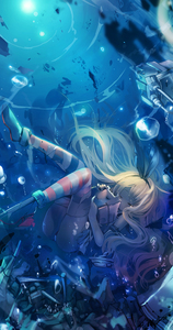Rating: Safe Score: 2 Tags: 1girl black_panties blonde_hair boots bubble closed_eyes fuyouchu hairband highres kantai_collection long_hair pantsu rensouhou-chan shimakaze_(kantai_collection) sinking striped striped_legwear tears thighhighs torn_clothes torn_thighhighs underwater underwear User: DMSchmidt