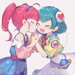 Rating: Safe Score: 2 Tags: 2girls :d ^_^ ahoge blush closed_eyes eyebrows_visible_through_hair hagoromo_lala hairband happy hoshina_hikaru multiple_girls open_mouth pink_hair precure short_hair short_sleeves smile star_twinkle_precure tere twin_tails User: DMSchmidt
