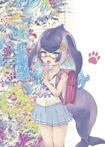 Rating: Safe Score: 0 Tags: 1girl alternate_costume anchor_hair_ornament aqua_hair backpack bag bare_arms blowhole blue_eyes blue_skirt blue_whale_(kemono_friends) casual cowgirl_position dorsal_fin eyebrows_visible_through_hair food glasses graphic_shirt grey_hair hair_ornament highres ice_cream ice_cream_cone kemono_friends kolshica long_hair multicoloured_hair pleated_skirt randoseru red_backpack skirt soft_serve solo straddling tank_top whale_tail_(animal_tail) younger User: DMSchmidt