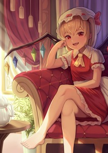 Rating: Safe Score: 1 Tags: 1girl ;d absurdres arm_support ascot bangs bare_legs barefoot blonde_hair bow couch crossed_legs crystal curtains day dress flandre_scarlet frilled_shirt_collar frills goback hair_bow hand_on_own_cheek hat highres indoors long_hair looking_at_viewer mob_cap on_couch one_eye_closed one_side_up open_mouth red_dress red_eyes red_ribbon ribbon sash shirt short_sleeves smile solo sunlight table teapot toenails touhou_project upper_teeth white_hat white_shirt wings yellow_neckwear User: DMSchmidt