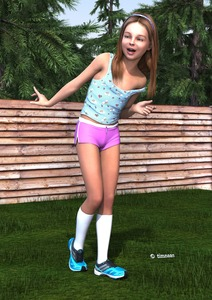 Rating: Questionable Score: 12 Tags: 1girl 3dcg blue_eyes brown_hair grass jo-timnaas long_hair open_mouth photorealistic shoes smile socks timnaas User: fantasy-lover