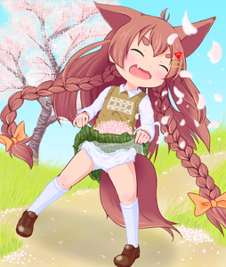 Rating: Safe Score: 2 Tags: 1girl animal_ears borrowed_character braid brown_hair cherry_blossoms closed_eyes fangs full_body grass hair_ornament hairclip hairpin heragyu highres kneehighs lifted_by_self long_hair momiji_(makuran) original outdoors pantsu skirt_hold solo tail thick_eyebrows tree twin_braids underwear very_long_hair white_legwear white_pantsu User: Domestic_Importer