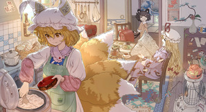 Rating: Safe Score: 2 Tags: 3girls animal_ears apron artist_name backpack bag black_hair blonde_hair bottle bow breakfast buttons calendar_(object) carpet cat_ears cat_tail cat_teaser chair chen chopsticks closed_eyes closed_mouth clothes_writing coffee_pot cup dahuang daruma_doll dated dishes dress fox_tail hair_between_eyes hair_bow hat hat_ribbon highres indoors knife long_hair looking_down mob_cap mouse multiple_girls ofuda pajamas pillow_hat plant pot potted_plant randoseru red_bow red_ribbon ribbon rice rice_bowl rice_cooker saucer sitting sleepy smile spatula sticker stove tail teacup teapot tears touhou_project vase white_dress white_hat window yakumo_ran yakumo_yukari yawning yellow_eyes User: DMSchmidt