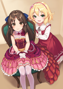 Rating: Safe Score: 2 Tags: 10s 2girls :d bangs bare_shoulders blonde_hair blue_bow blush bow breasts brown_eyes brown_hair chair closed_mouth dress eyebrows_visible_through_hair feet_out_of_frame floral_print flower frilled_dress frilled_shirt_collar frilled_skirt frills gloves green_eyes hair_bow hairband hands_on_lap idolmaster idolmaster_cinderella_girls layered_dress long_hair long_skirt long_sleeves looking_at_viewer multiple_girls open_mouth parted_bangs pearl pink_bow pink_hairband pink_legwear pokachu print_dress raised_eyebrows red_dress red_flower red_rose red_skirt red_vest revision rose rose_print sakurai_momoka shiny shiny_hair shirt sitting skirt sleeveless sleeveless_dress small_breasts smile standing tachibana_arisu tareme thighhighs vest white_gloves white_shirt User: Domestic_Importer