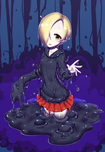 Rating: Safe Score: 5 Tags: 10s 1girl blonde_hair brown_eyes dripping hair_over_one_eye highres hood hoodie idolmaster idolmaster_cinderella_girls kuroshiro_(ms-2420) melting monster_girl monsterification red_skirt shirasaka_koume short_hair simple_background skirt sleeves_past_wrists slime slime_girl solo sweatshirt waving User: DMSchmidt