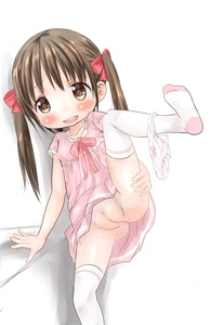 Rating: Questionable Score: 5 Tags: 1girl blush bow bow_panties brown_hair collarbone dress fat_mons hair_bow hair_ornament highres leg_lift long_hair open_mouth original pantsu pantsu_around_one_leg pink_dress pussy shimapan solo standing standing_on_one_leg striped thighhighs uncensored underwear upper_teeth vvv_(pixiv391411) white_background white_legwear User: Domestic_Importer
