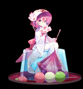 Rating: Safe Score: 2 Tags: 1girl alternate_costume bowl bowl_hat covering_mouth dango flower food hat highres holding japanese_clothes kimono needle nr_(cmnrr) oversized_object pink_ribbon purple_eyes purple_hair ribbon sanshoku_dango short_hair sitting solo sukuna_shinmyoumaru touhou_project transparent_background uchikake wagashi User: DMSchmidt