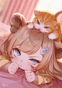 Rating: Safe Score: 5 Tags: 1girl animal animal_ears animal_on_head bangs bed_sheet blurry blurry_background brown_shirt cat cat_on_head day depth_of_field dutch_angle hair_ornament hairclip heart heart_print light_brown_hair lion_ears long_hair long_sleeves looking_at_viewer lying maou_renjishi on_head on_stomach original print_shirt shirt solo sunlight v-shaped_eyebrows window User: DMSchmidt