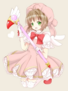 Rating: Safe Score: 0 Tags: 1girl bow brown_hair cardcaptor_sakura coloured flat_chest green_eyes hat heart kinomoto_sakura magical_girl open_mouth raiko_6 short_hair simple_background smile solo thighhighs white_legwear wings User: DMSchmidt