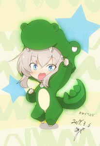 Rating: Safe Score: 1 Tags: 1girl :3 :d alligator_costume alternate_costume arm_up artist_name barefoot blue_eyes blush_stickers clenched_hands dancing dated eyebrows_visible_through_hair girls_und_panzer highres itsumi_erika jinguu_(4839ms) open_mouth smile User: Domestic_Importer